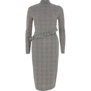 River Island Grey Check Print Ruffle Midi Dress